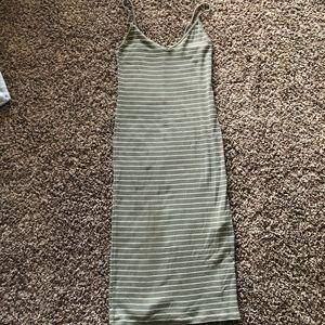 Olive/White Stripe Midi Bodycon Dress